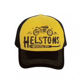 HELSTONS TRUCKER CAP CAFE RACER YELLOW-BLACK